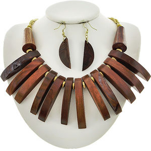 Brown Wood drops Chunky Necklace Earring
